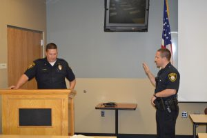 Officer Finnvik Takes His Oath of Office